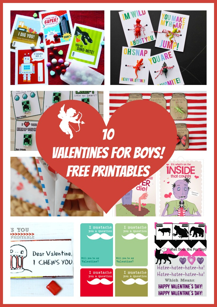10 valentines for boys  free printables