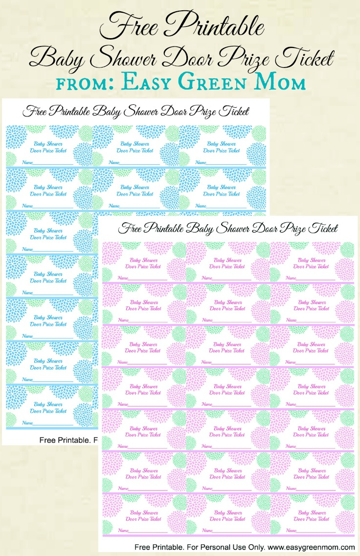 Free Printable Baby Shower Door Prize Tickets For Boy Or Girl   Rays Of  Bliss