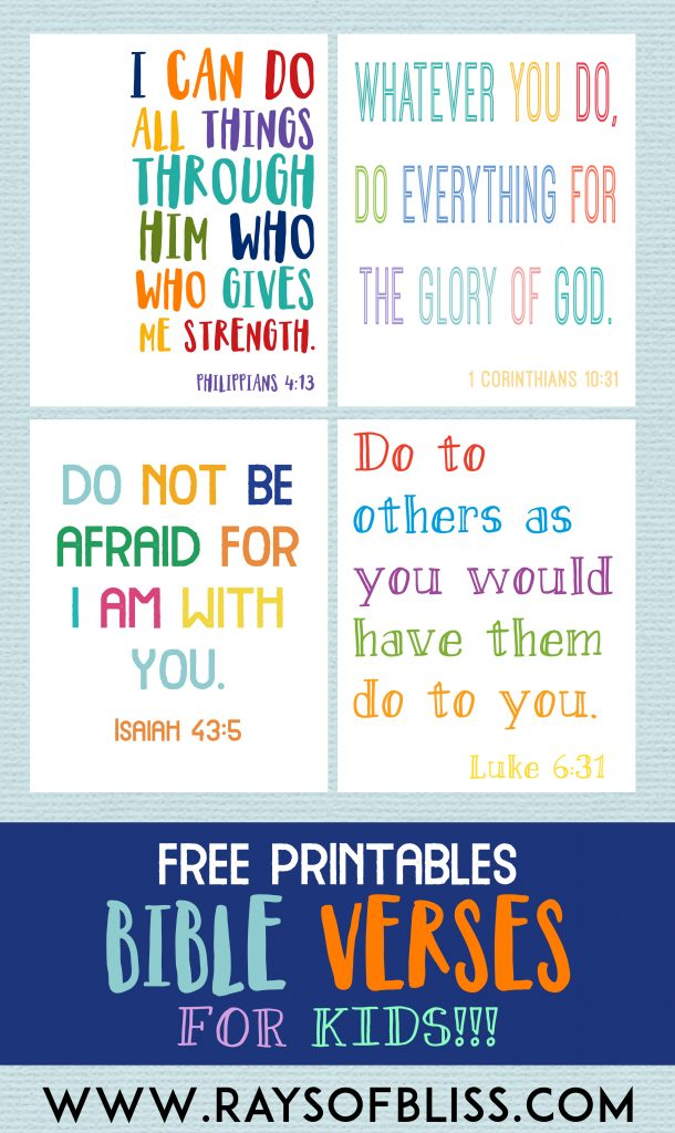 Kids Bible Verses Free Printables