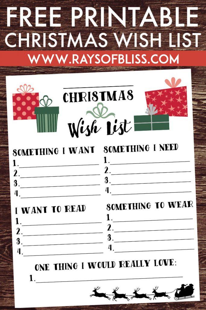 Christmas Wish List. Free Printable using the 4 Gift Rule